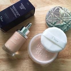 Kem nền dạng serum Dior Nude Air với phấn phủ bột Diorskin nude air       | Kem lót/nền