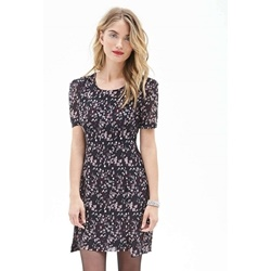 Pleated Abstract Print Dress
