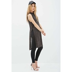 Đầm Slub Knit High-Slit Midi Dress