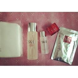 Set SK II Pitera Essence Set nước thần 75ml+kem dưỡng 15g+clear lotion+bông tẩy trang