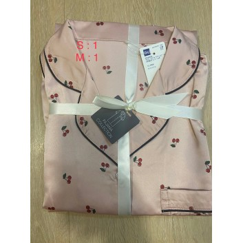 Váy ngủ Gu màu hồng hoạ tiết cherry