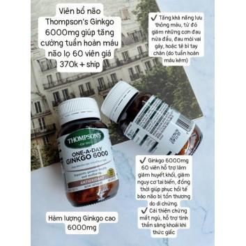 Viên bổ não Ginkgo Thompsons 6000 mg lọ 60 viên